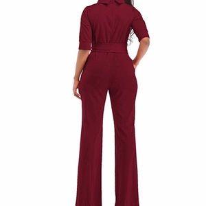 Womens Wide Leg Romper Pants Half Sleeve with Belt